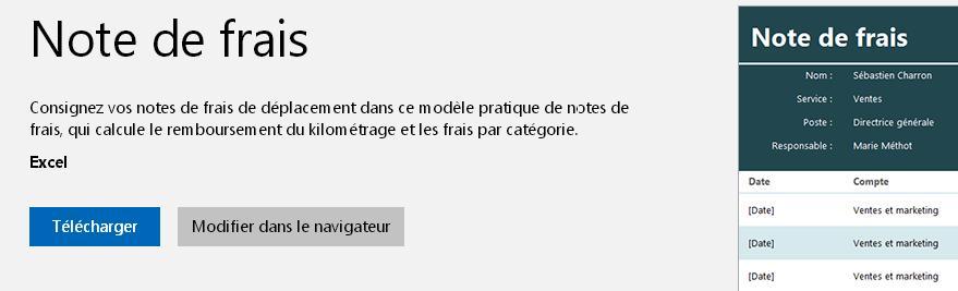 Le modèle de note de frais proposé par Microsoft
